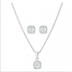 Boxed Silver Jewelry Set - Earrings and Necklace